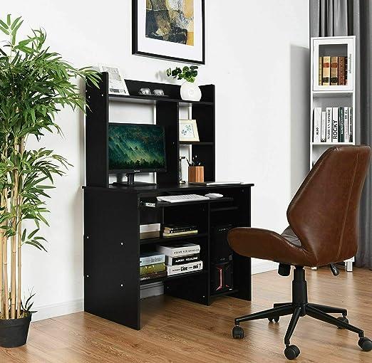 Computer Desk PC Laptop Study Table Bookcase Workstation Shelves/&Keyboard Tray