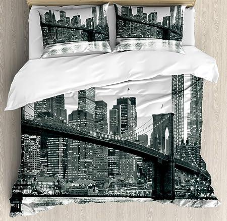 Copripiumino Citta.Set Copripiumino Moderno Ponte Di Brooklyn Tramonto Con Immagine