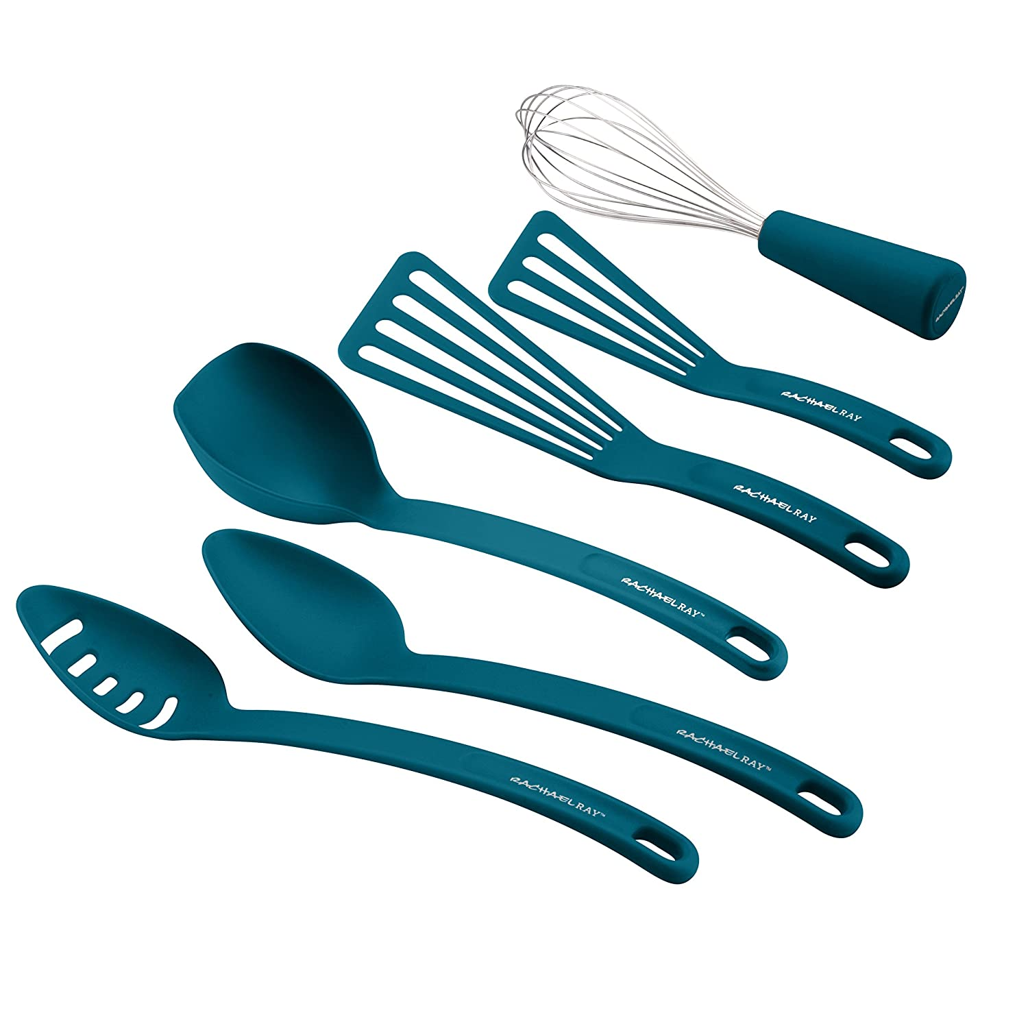 Amazon.com | Rachael Ray Nylon Nonstick Tools Set, Marine Blue, 6 ...