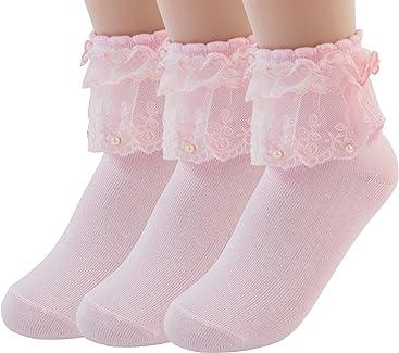 b89dd979f VIVIKI Women Lace Cotton Frilly Ruffle Socks Ankle Socks Pearl Socks A06