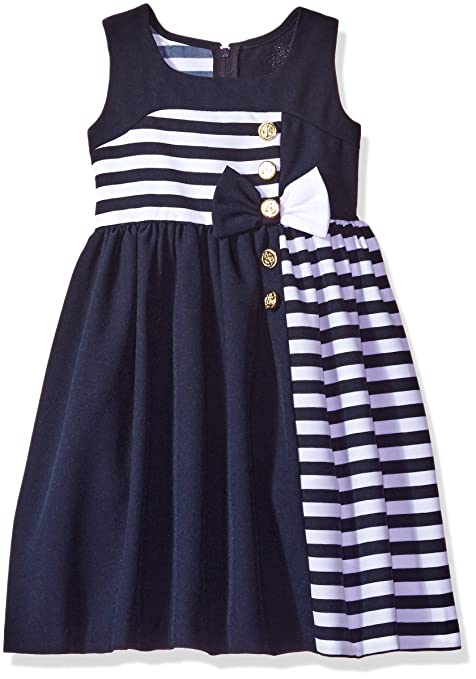 Bonnie Jean Big Girls' Asymetrical Nautical Dress, Navy, 7