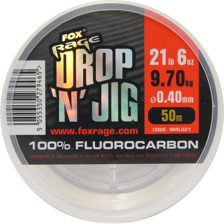 Angelschnur f/ür Vorf/ächer Vorfachschnur zum Spinnfischen Durchmesser//Tragkraft:0.30mm // 6.28kg Tragkraft FOX Rage Fluocarbon Schnur Drop n Jig 50m
