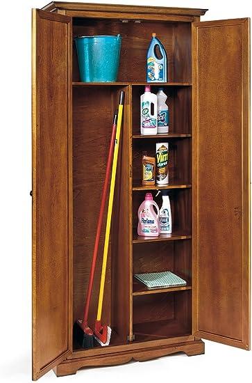 Armadio Portascope In Legno.Lo Scrigno Arredamenti Armadio Classico Legno Porta Scope E Detersivi Tinta Noce W520 N Amazon It Casa E Cucina