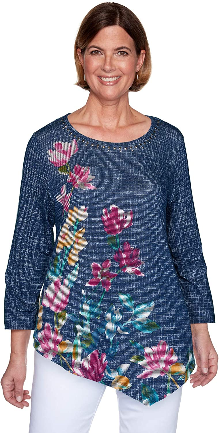 Alfred Dunner Womens Plus-sizeTextured Floral Print Soft Knit Top