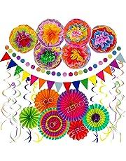 Zerodeco Décoration de fête Fournitures, 21 Pièces Papier Pompoms Fleurs, Eventail Boule, Banderole en Triangle, Ventilateur de Papier et Guirlandes
