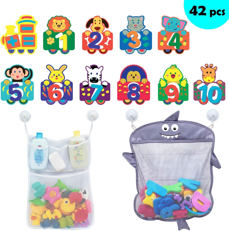 Comfylife Baby Bath Toy Organizer – Cute Shark Organizer for Baby Bath Toys + Foam Numbers & Animal Train – Great Bath Net for Kids – No Slime or Mold Bath Toy Storage for Shower or Tub