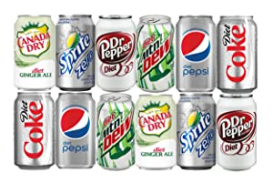 Assortment of DIET Soda, Diet Coke, Diet Pepsi, Diet Dr Pepper, Diet Mountain Dew, Sprite Zero, and Diet Ginger Ale Drinks Refrigerator Restock Kit (Pack of 12)