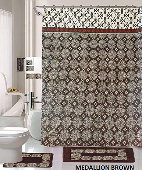 amazon com 18 piece bath rug set coffee brown silver medallion rh amazon com