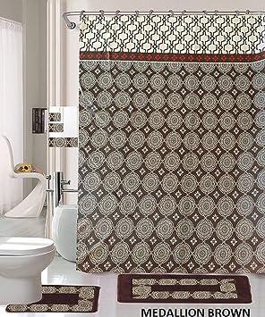 Alfombra de baño (de 18 piezas Café Marrón Plata medallón impresión baño alfombra cortina de ducha/anillos y toallas sets-medallion marrón: Amazon.es: Hogar