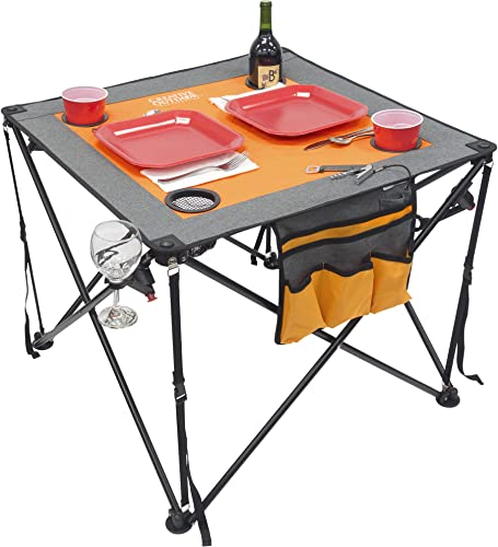 Creative Outdoor Folding Wine Table Portable Camping Beach Picnic Patio Orange Gray