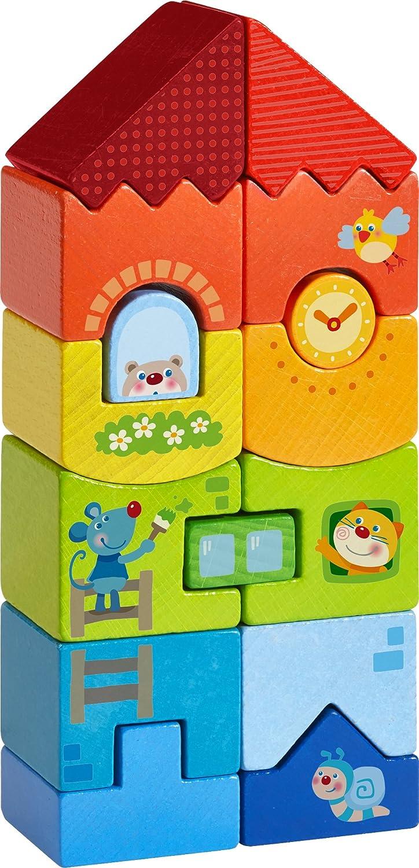 HABA 303708 - Stapelspiel Tier-Hochhaus |Bunter Turm aus 15 Stapelseteinen in Regenbogenfarben mit lustigen Tiermotiven | Holzspielzeug ab 18 Monaten Habermaass GmbH Für Babys ab 12 Monaten Non Books Non Books / Spielzeug