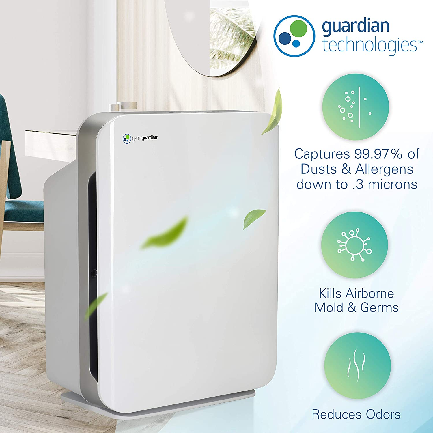 Germ Guardian AC5900WCA 21 3-in-1 True HEPA Filter Air Purifier for Home, Large Rooms, UV-C Sanitizer, Filters Allergies, Smoke, Dust, Pet Dander, Odors, 3-Yr Wty, GermGuardian, White