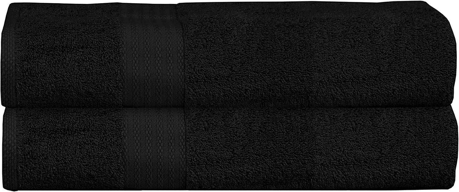 Glamburg Premium Cotton Oversized 2 Pack Bath Sheet 35x70 - 100% Pure Cotton - Ideal for Everyday use - Ultra Soft & Highly Absorbent - Machine Washable - Black: Kitchen & Dining