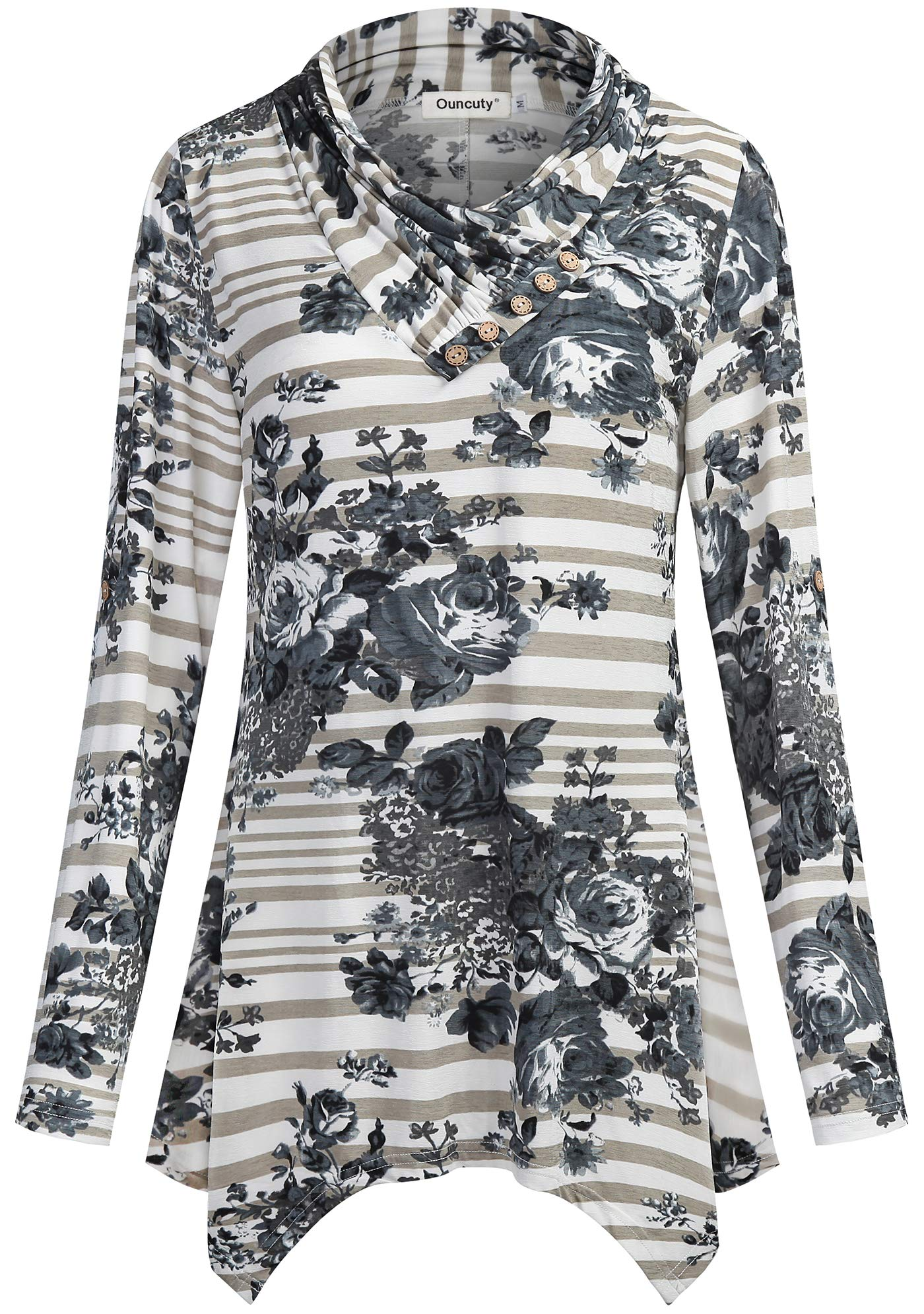 3c0f7fb11b987a Ouncuty Women Blouses Tops for Work,Female Classy Crossover Collared Floral  Ruched Fancy Paisley Space Dye Travel Clothing Flyaway Curve Hem Slim Fit  Tunics ...