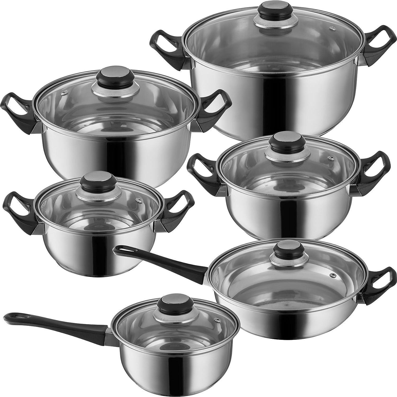TecTake Set de ollas de acero inoxidable tapa de cristal de 12 piezas batería de cocina