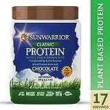 Sunwarrior - Classic Protein, Raw, Plant Based, Wholegrain Brown Rice Vegan Protein Powder, Chocolate, 17 Servings