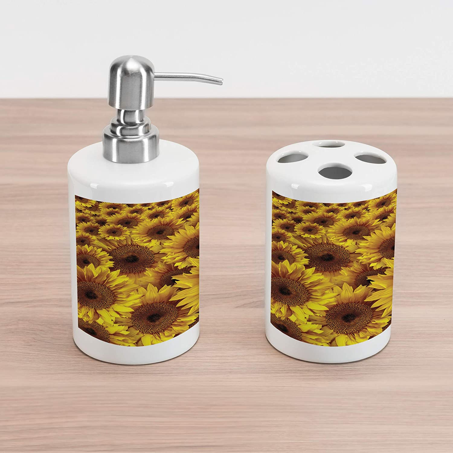 Sunflower Bouquet Flourishing Botany Morning Vibrant Color Picture Print Mustard Yellow Lunarable Sunflower Soap Dispenser and Toothbrush Holder Set 4.5 X 2.7 Ceramic Bathroom Accessories