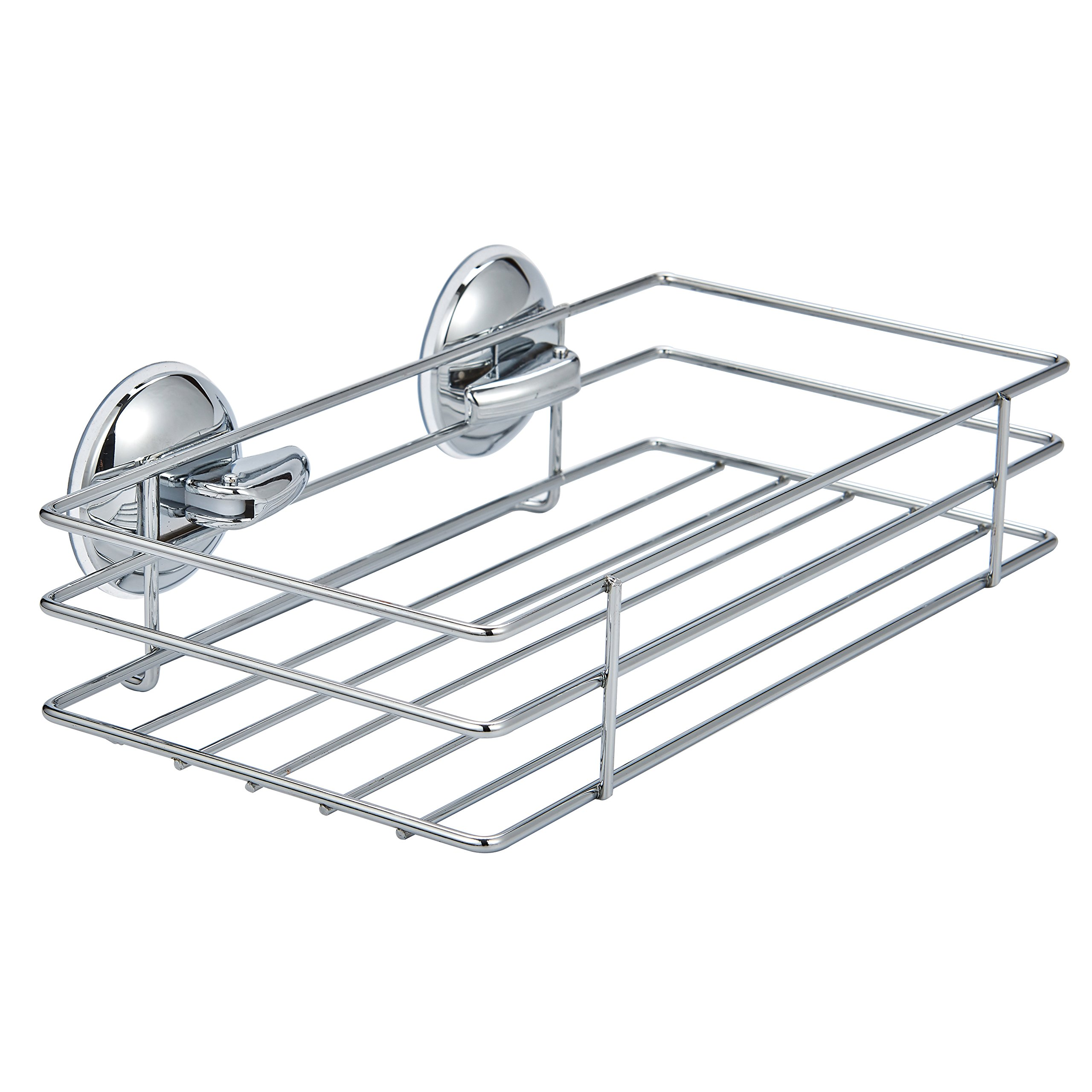 Shower Caddy Storage Shower Shelf Basket with Powerful Vacuum Suction Cup Stainless Steel Chrome Storage Basket and Shelf for Shampoo Conditioner, Soap, Razor Bathroom & Kitchen Rack