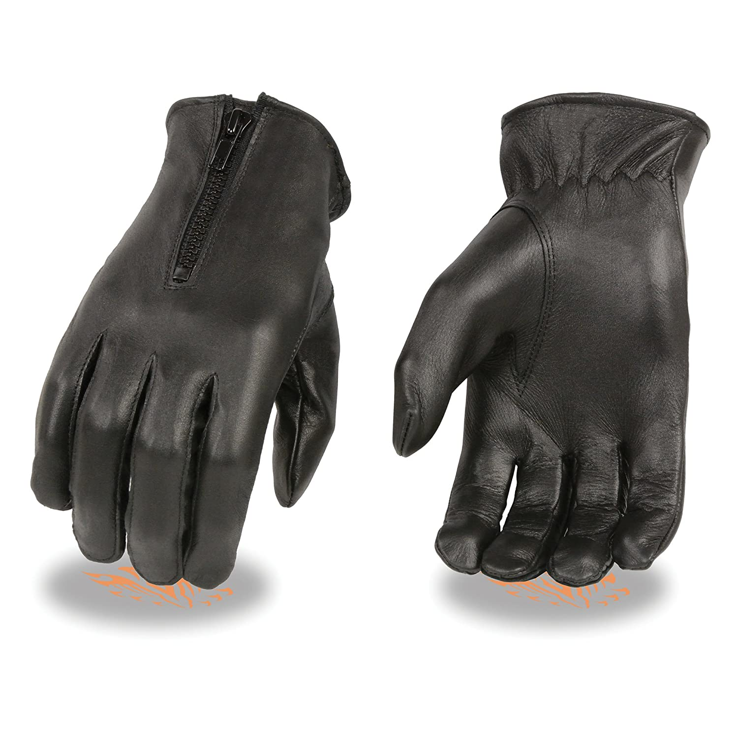 Ladies very soft Thick cow hide Leather black winter driving gloves. Warm fleece lining, Wrist length with zipper closure, elastic on wrist (L)