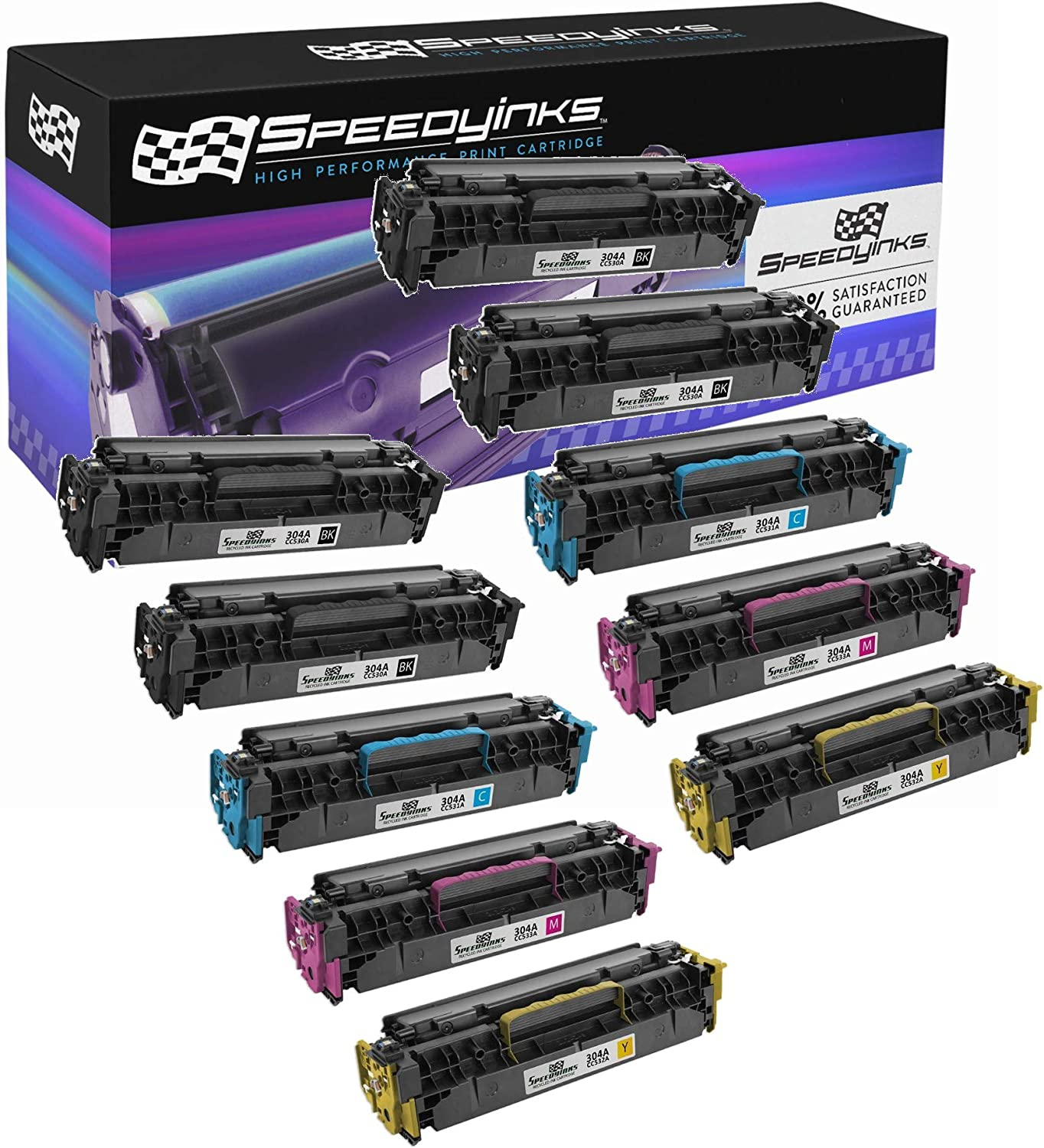 Speedy Inks Remanufactured Toner Cartridge Replacement for HP 304A (1 Black, 1 Cyan, 1 Magenta, 1 Yellow, 4-Pack)