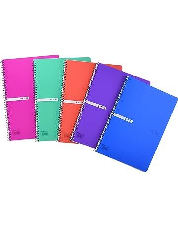 Enri 400042280 Pack de 5 cuadernos espiral, tapa plástico translúcido, Fº, surtido :