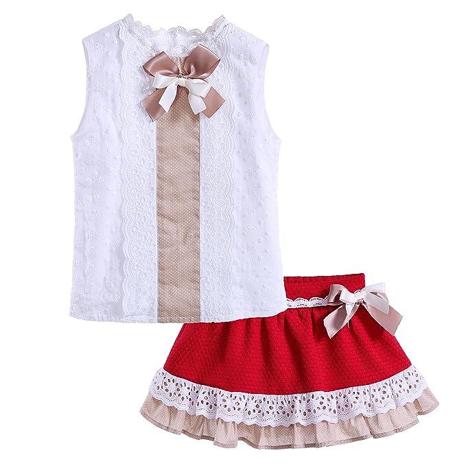 Lajinirr Niñas Summer Clothes Set Top blanco y falda de encaje ...