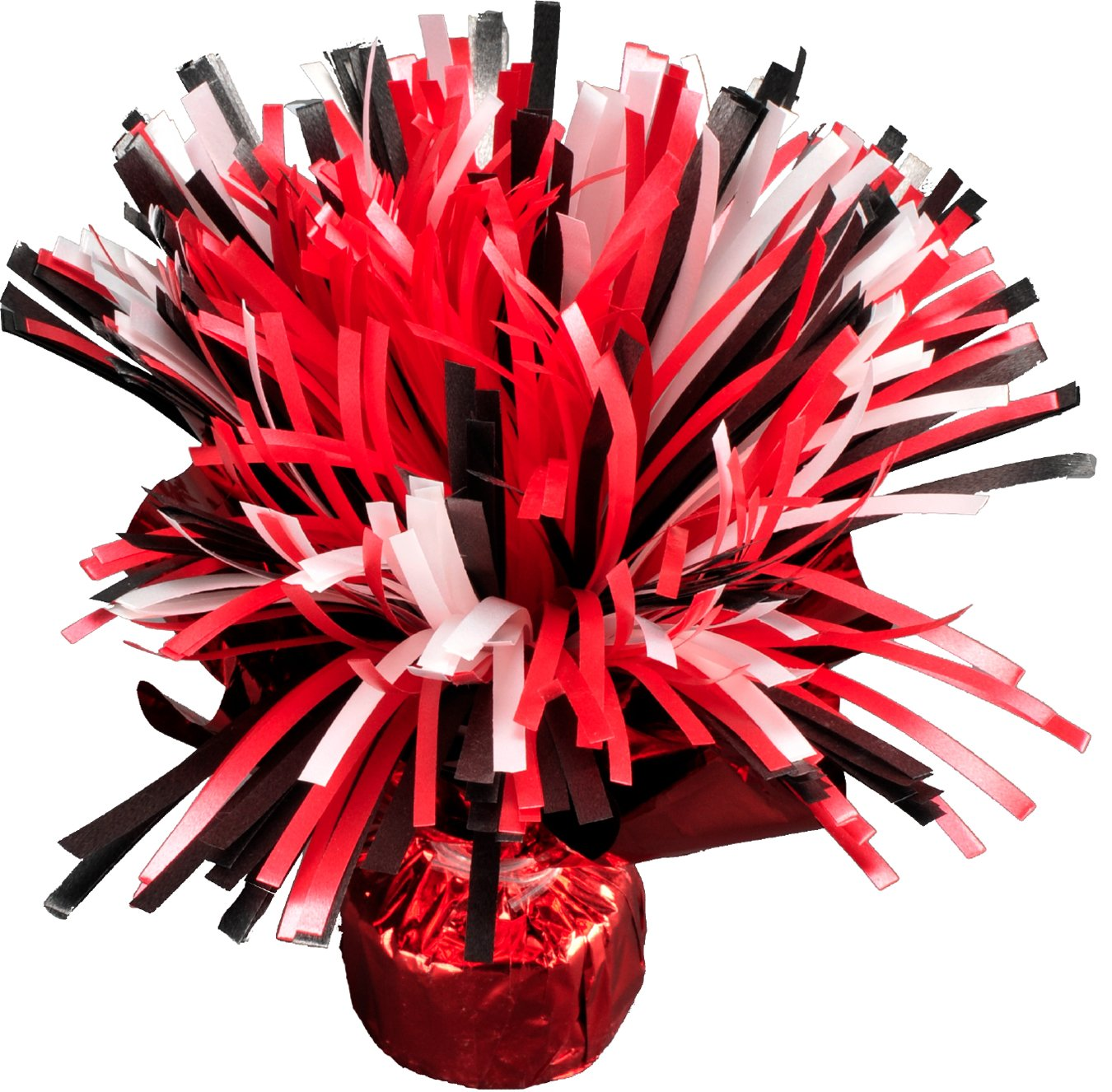 20 across, Festive Tailgate Accessory Havercamp Team Party Collection by Havercamp White and Black Shaker Centerpiece Balloon Weight Red