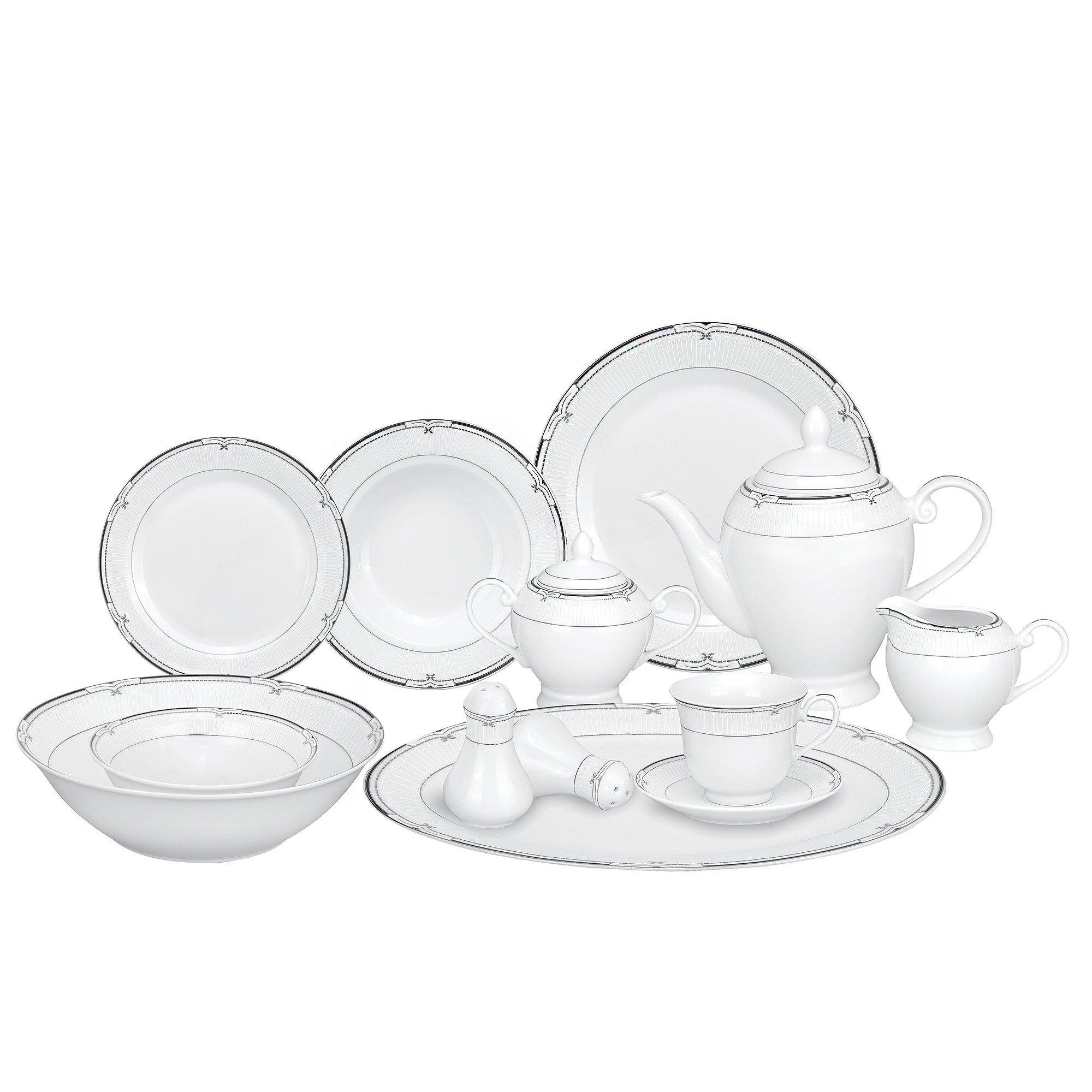 Lorren Home Trends 57-Piece Porcelain Dinnerware Set, Rio, Service for 8