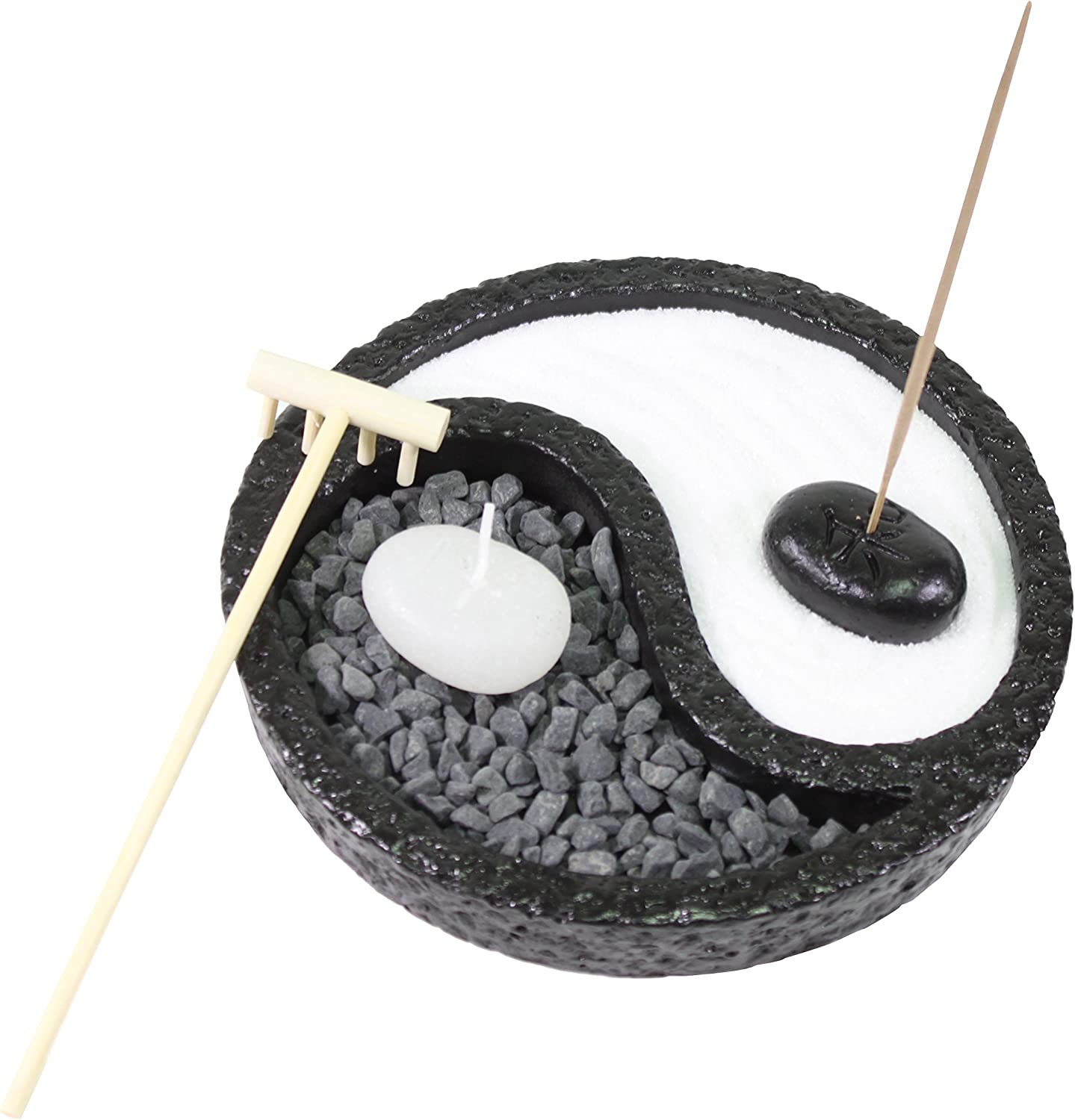 Tabletop Taiji Yin Yang Zen Garden Sand Rock Candle Incense Burner Gifr & Home Decor