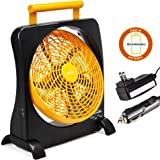 """O2COOl 10"""" Battery Operated Fan - Portable with AC Adapter & USB Charging Port for Emergencies, Camping & Travel Use (Orange)"""