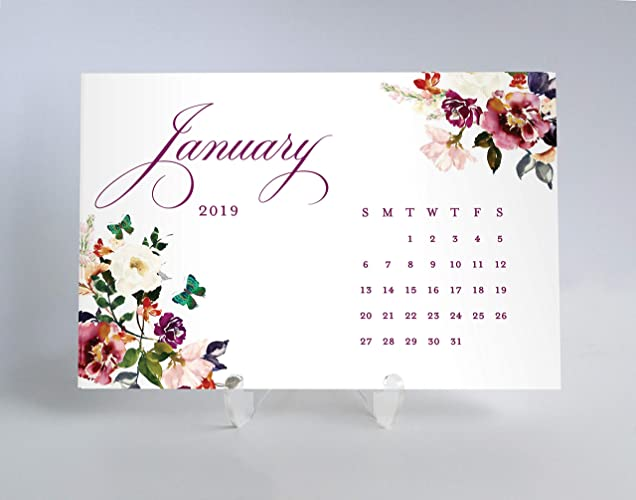 2019 Desk Calendar Pretty Planner Cards Schedule Appointments Meetings Perfect Christmas Birthday Gift For Female Teacher Woman Office Manager Job Coworker