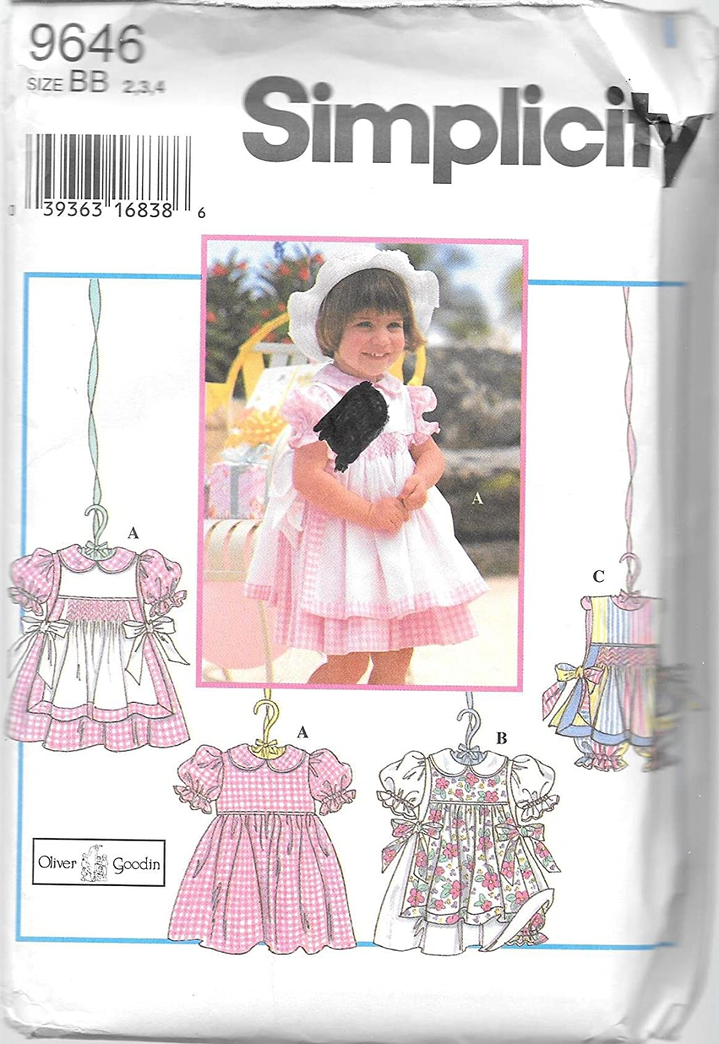 Simplicity 9646 Girl Toddler's Apron (Pinafore), Dress and Panties Pattern by Oliver Goodin - Size AA (1/2, 1, 2) by Oliver Goodin   B001OO066E