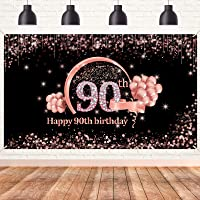 Lnlofen 90th Birthday Banner Decorations Backdrop for Women, Extra Large 90 Year Old Birthday Party Decor Supplies, Rose…