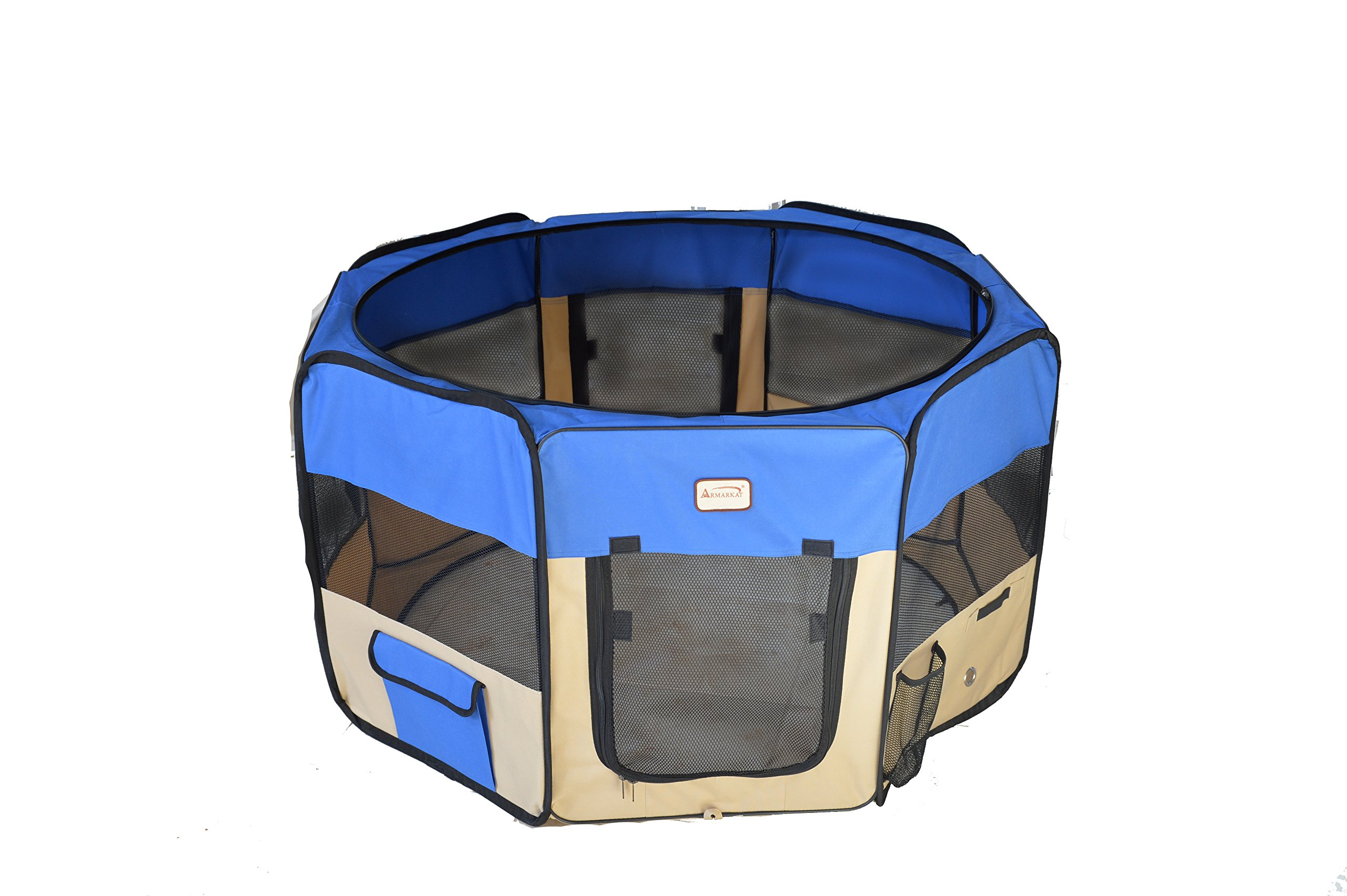 Armarkat PP001B Blue and Beige Portable Playpen by Armarkat
