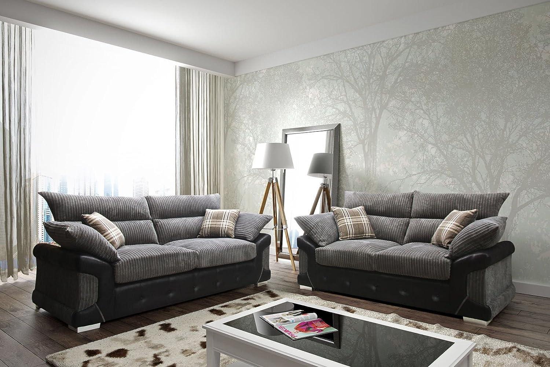 Sleepkings Logan Jumbo Cord 3 2 Sofa Set In Black Grey 2017 Design Direct From The Manufacturer Amazon Co Uk Kitchen Home