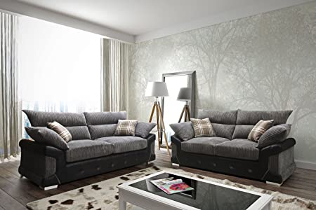 sleepkings Logan Jumbo Cord 3+2 Sofa Set In BlackGrey 2017 Design Direct From The Manufacturer