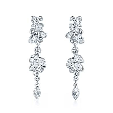 15d7bc27df8c MYJS Diapason Enchanted Drop Earrings Rhodium Plated with Swarovski Crystals