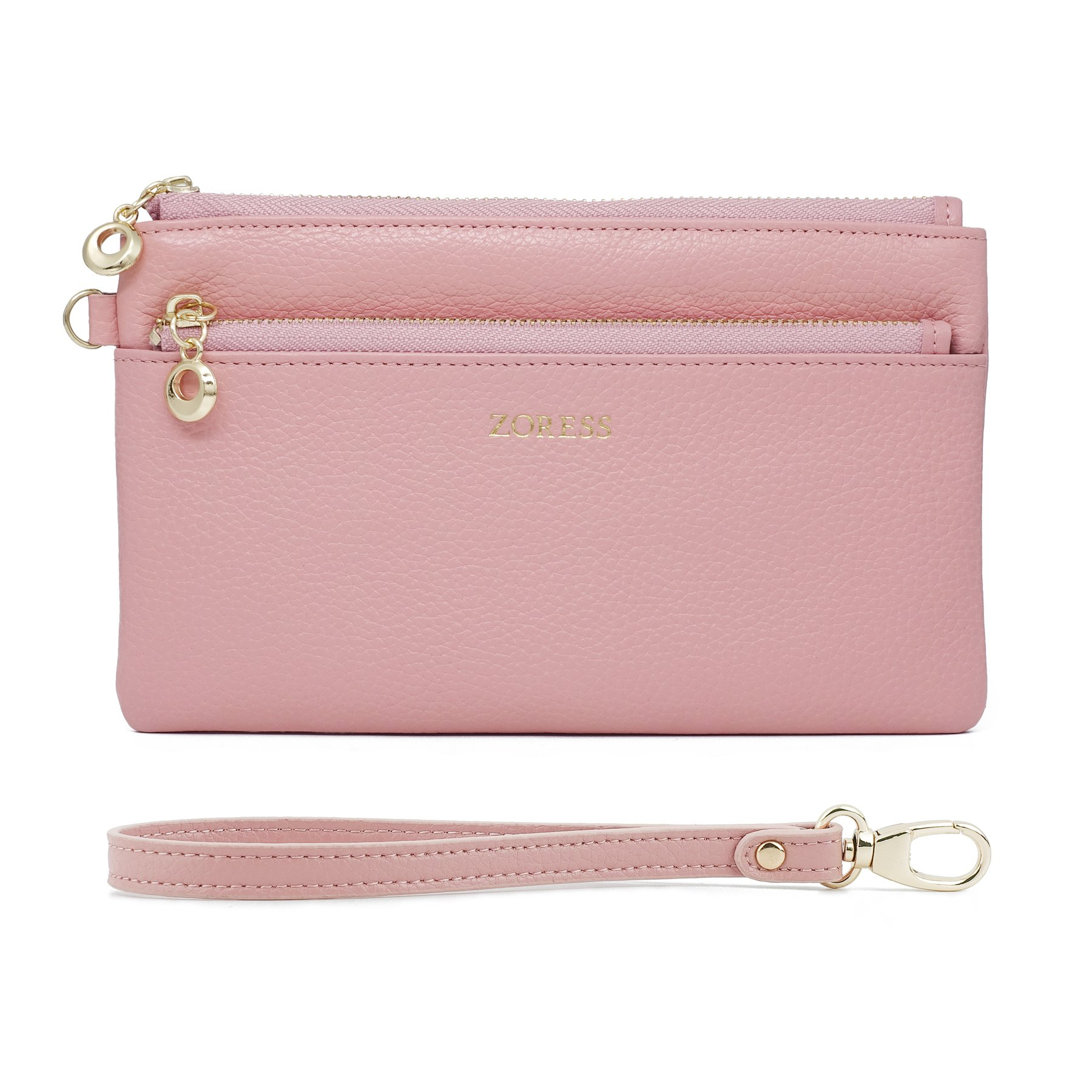 ZORESS Women Genuine Leather Wristlets Bag, Clutch Organizer Wallets Purses for iPhone(Pink Long)