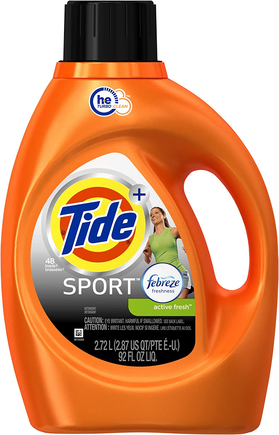 Tide Plus Febreze Sport Active Fresh Sport Liquid Laundry Detergent, 92 oz / 48 Loads