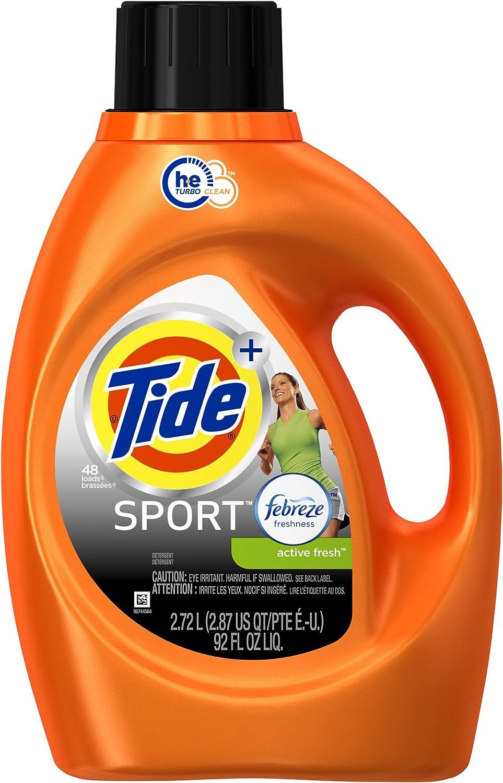 Tide Plus Febreze Sport Active Fresh Sport Liquid Laundry Detergent, 92 oz / 48 Loads