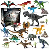 21 Pieces Realistic Dinosaur Figures with Movable Jaws Also Included Stone and Plant Fossil and Map Best Dinosaur Toys Gift for Boys Girls and Adults