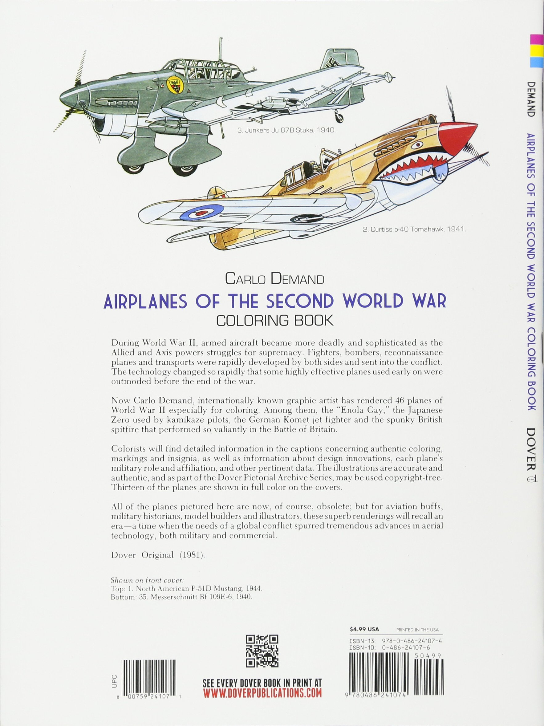 P 40 coloring pages - Airplanes Of The Second World War Coloring Book Dover History Coloring Book Carlo Demand 9780486241074 Amazon Com Books