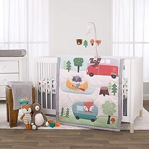 NoJo Retro Happy Camper Green, Aqua & Grey 3Piece Nursery Crib Bedding Set - Comforter, Fitted Crib Sheet & Dust Ruffle, Green, Aqua, Orange, Grey