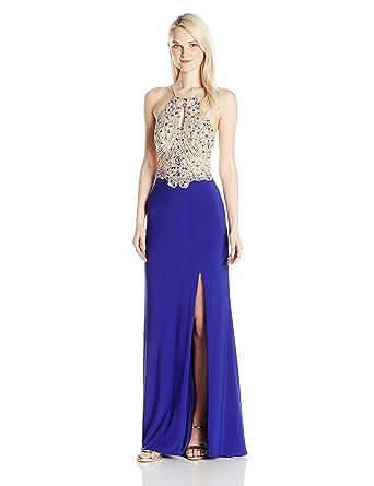 17627961cae Amazon.com  Blondie Nites Long Two Toned Beaded Junior Dress  Clothing