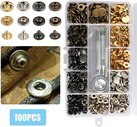 100 Set Snap Fasteners Leather Snaps Button Kit Press Studs with 4 Pieces...