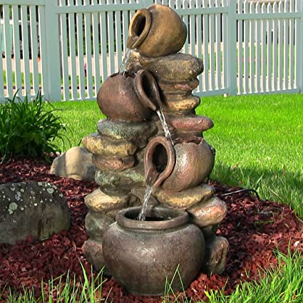 Merveilleux Sunnydaze Honey Pot With Stones Outdoor Garden Water Fountain With LED  Lights, 25 Inch Tall