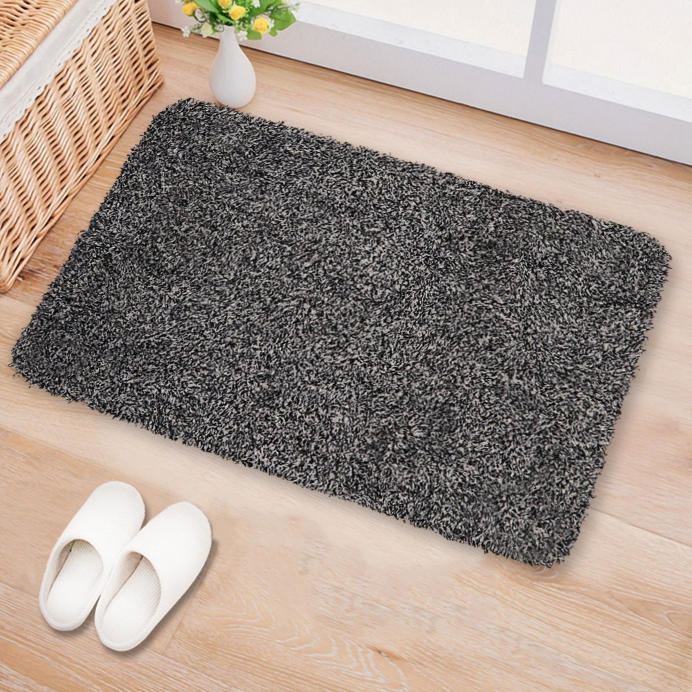 Indoor Doormat Super Absorbs Mud 28''x18'' Latex Backing Non Slip Door Mat for Small Front Door Inside Floor Dirt Trapper Mats Cotton Entrance Rug Shoes Scraper Machine Washable Carpet Black White Fiber by BEAU JARDIN