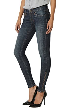8a44a15422c TheMogan Women s Indigo Stone Wash Ankle Zipper Crop Skinny Jeans Dark 0 at  Amazon Women s Jeans store