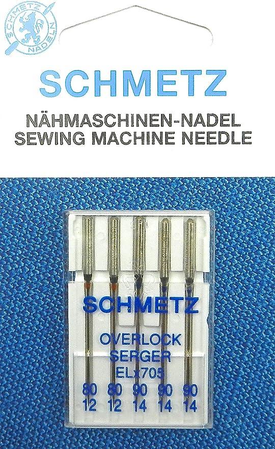 5 agujas Schmetz Overlock Serger para máquinas de coser (pistón ...