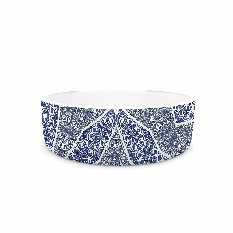 KESS InHouse Alison Coxon Santorini Tile bluee White Digital Pet Bowl, 7  Diameter